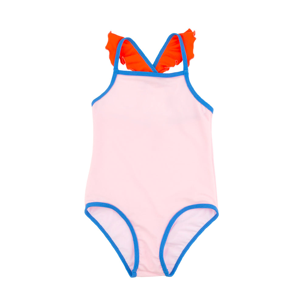Tinycottons light pink/carmine color block frills swimsuit