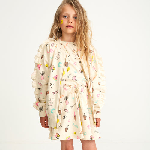 Girls AOP Fun Cream Melange Ann Jacket