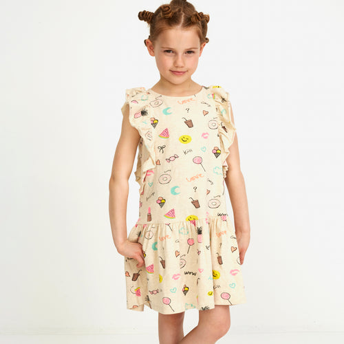 Girls AOP Fun Cream Melange Alberte Dress