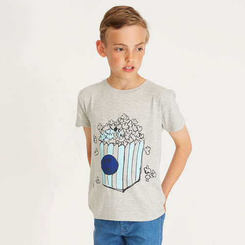 Boys Popboy Grey Melange Bass T-shirt