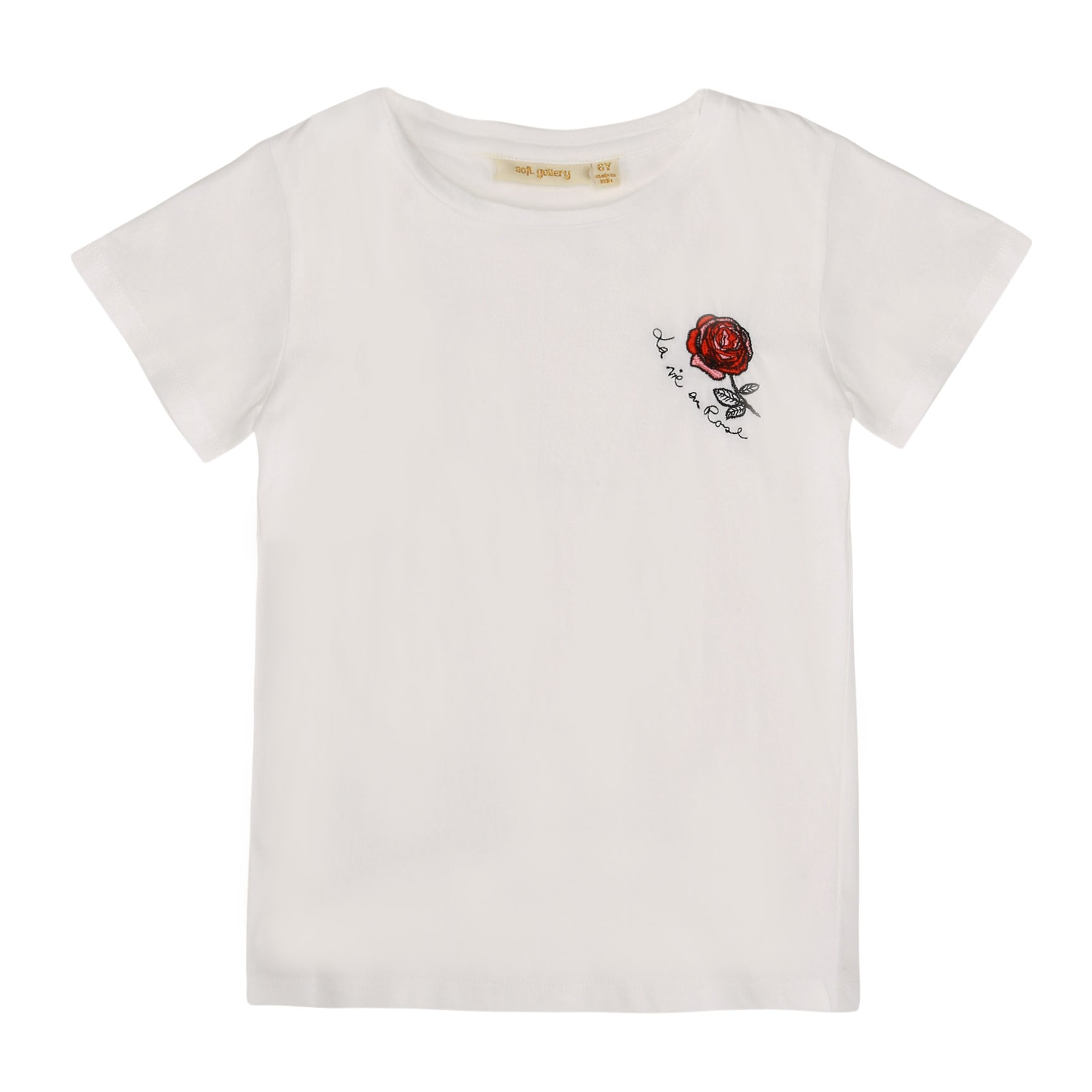 Girls Rose Emb. White Bass T-shirt