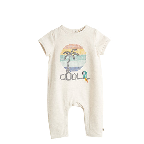 BABY BOY/GIRL RAINBOW /PALMTREE EMBROIDERED LIGHTWEIGHT TERRY PLAYSUIT