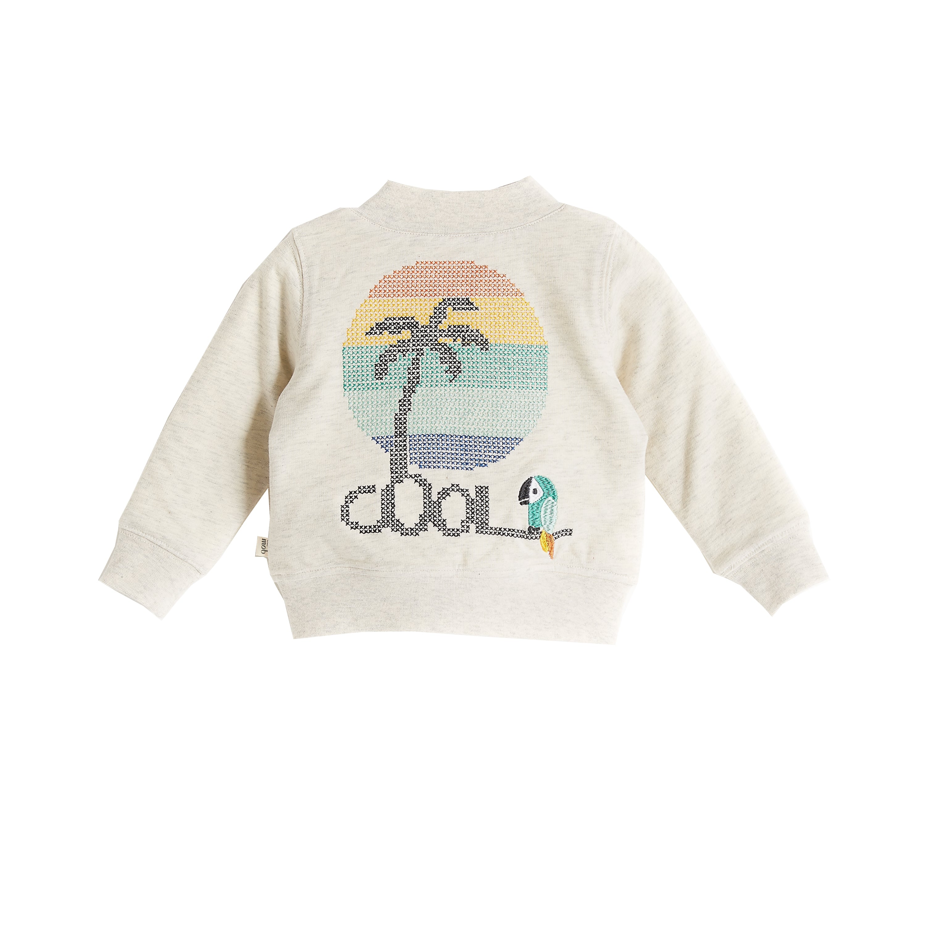 BABY BOY/GIRL RAINBOW /PALMTREE 'EMBROIDERED LIGHTWEIGHT TERRY BOMBER CARDIGAN