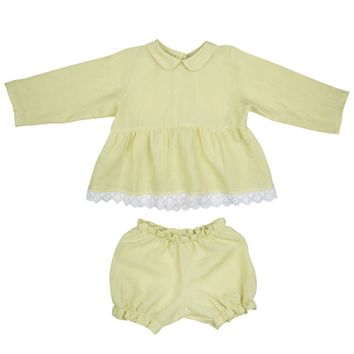 Lemon yellow Blouse and bloomers set