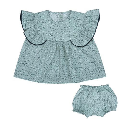 Green Ground Top and bloomers set