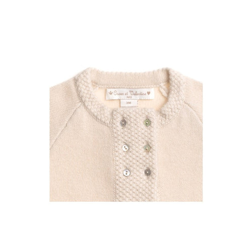 BOYS/GIRLS UNISEX BEIGE CASHMERE DOUBLE-BREASTED CARDIGAN