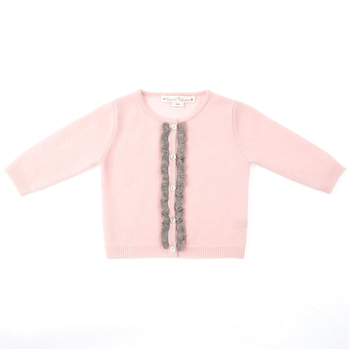 GIRLS PINK GREY CASHMERE CARDIGAN