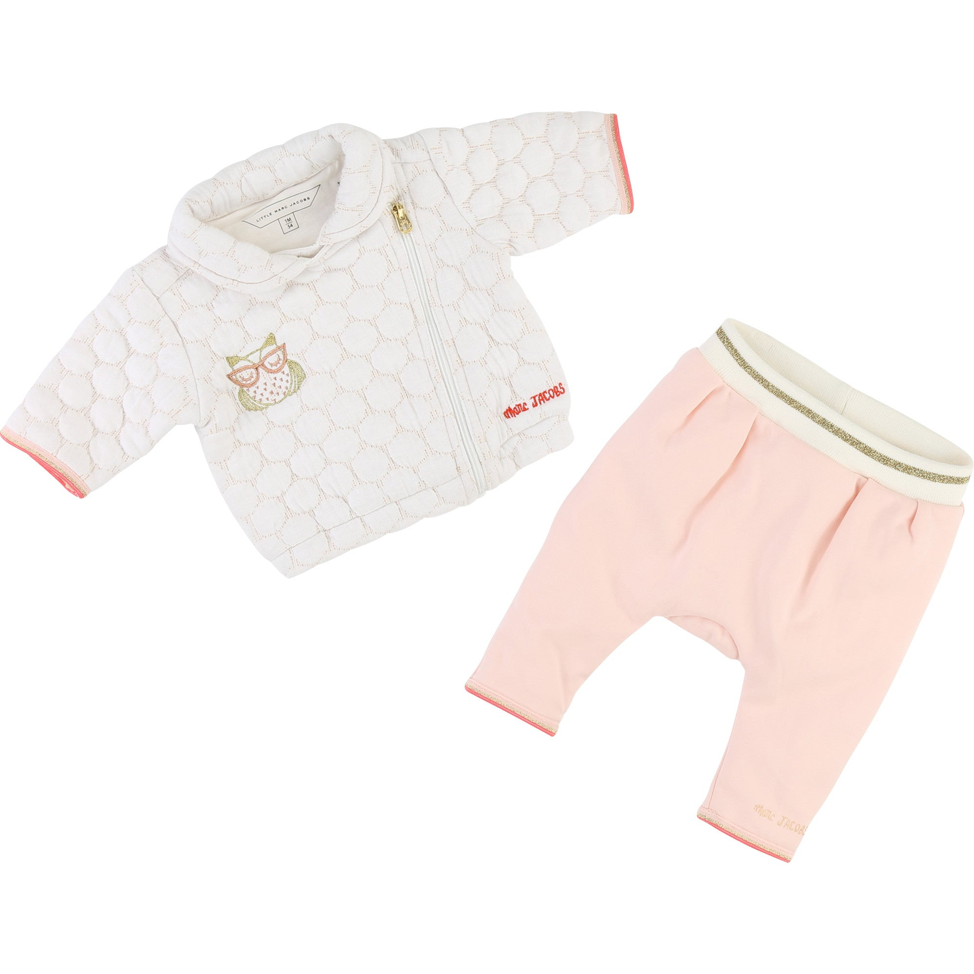 BABY UNISEX White and Pink CARDIGAN SET + PANTS