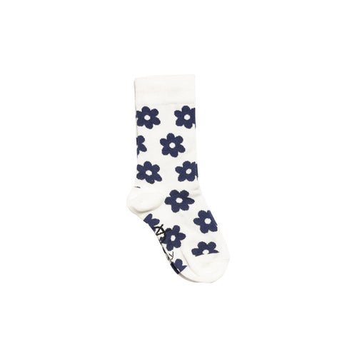 Daily Ankle Sock Ecru/NavyFlowers