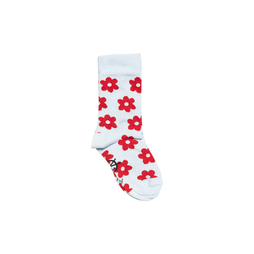 Daily Ankle Sock PaleBlue/RedFlowers