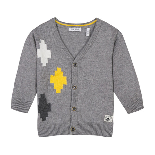 BABY BOYS CARDIGAN WITH PATTERN DETAIL WINTER GREY
