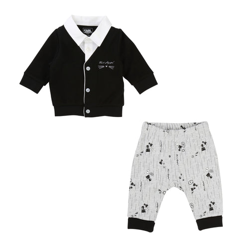 BABY UNISEX BLACK CARDIGAN SET+PANTS