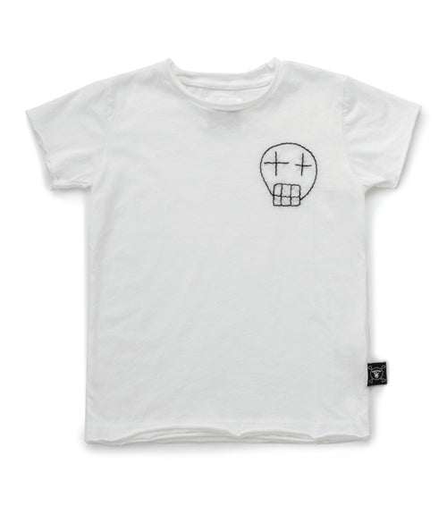 Nununu Embroidered Sketch Skull T-Shirt White