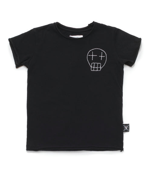 Nununu Embroidered Sketch Skull T-Shirt Black