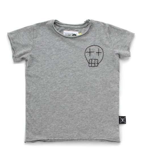 Nununu Embroidered Sketch Skull T-Shirt Heather Grey