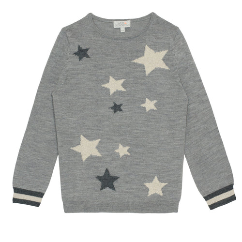 GIRLS Grey Scatter Star sweater