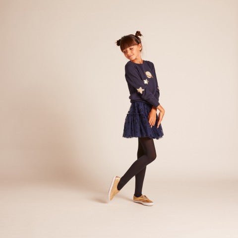 GIRLS Navy Sequin Planet sweater