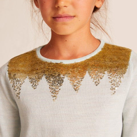 GIRLS Grey Sequin Solstice sweater