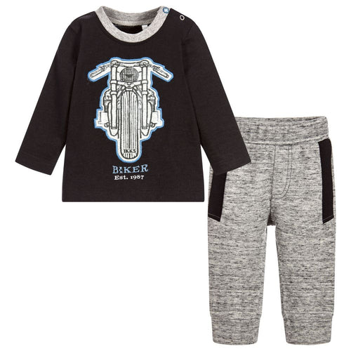 BOYS 2PC MOTORCYCLE T-SHIRT AND TROUSERS SET