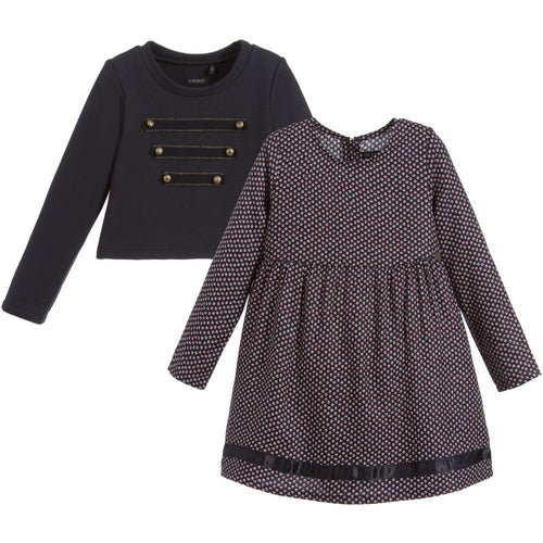 GIRLS 2 IN 1 SWEATSHIRT AND PRINTED DRESS NAVY