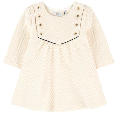GIRLS LS QUILTED DRESS WITH BUTTONS GOLD IVORY