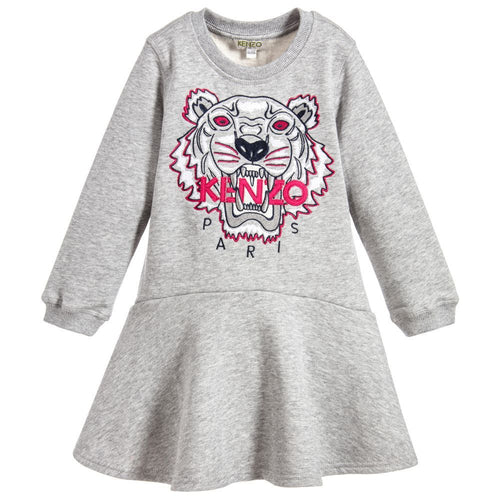 GIRLS LIGHT MARLED GREY TIGER DRESS