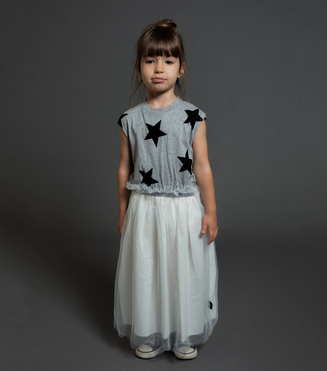 Nununu Star Tulle Dress Heather Grey