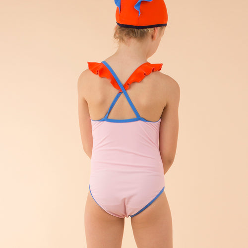 Baby & Kids light pink/carmine color block frills swimsuit