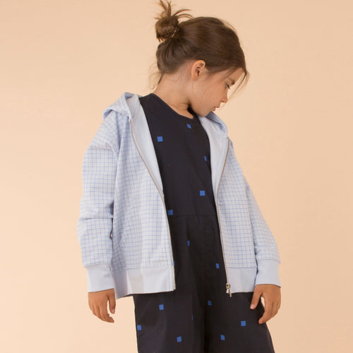 Kids light blue/cerulean blue grid FT hoody