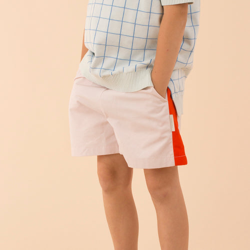 Kids light pink/carmine solid wv shorts