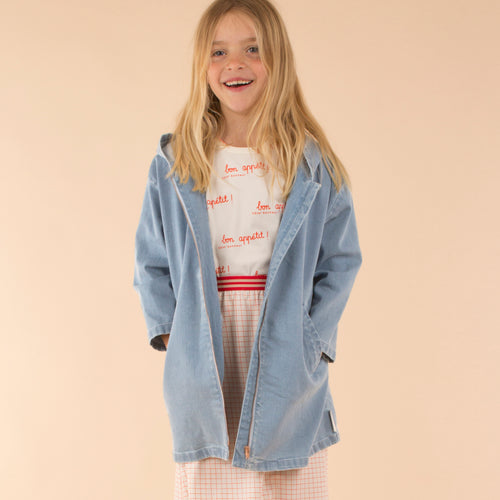 Kids light cerulean blue solid jacket