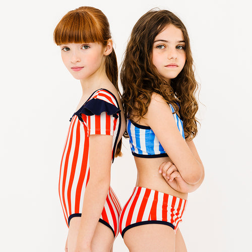 Cerulean & Carmine Striped Girls Swimsuit