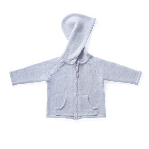BOYS/GIRLS UNISEX BLUE CASHMERE ZIP CARDIGAN