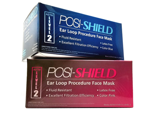 Reorder # 2950/Color, Posi-Shield Earloop Face Mask ASTM Level 2