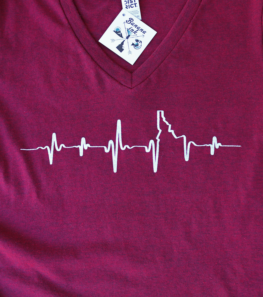 LAST CHANCE Heartbeat EKG Idaho Ladies V Neck