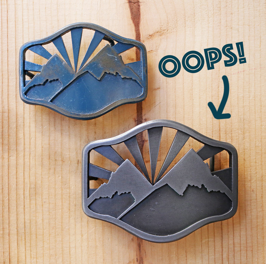 OOPS! (Larger) Idaho Mountains Belt Buckle