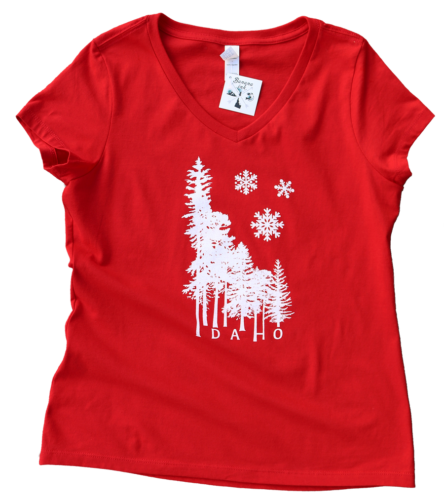 Idaho Winter Wilderness Ladies V-Neck