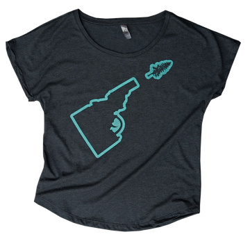 LAST CHANCE - Idaho Tree-Gun Outline Ladies Scoop Tee