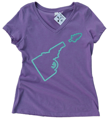 Idaho Tree-Gun Outline Ladies V Neck