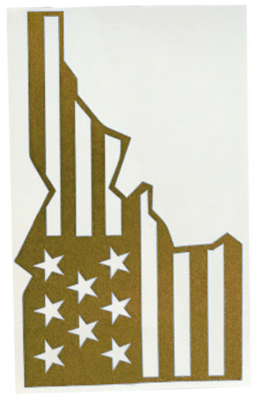 GOLD Star-Spangled Idaho Sticker