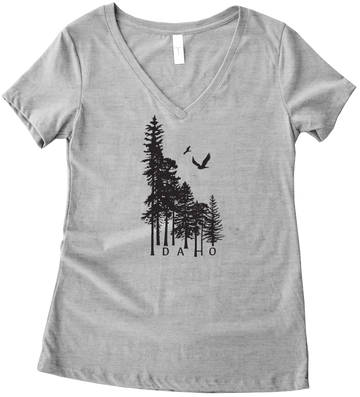 Idaho Wilderness Ladies V Neck Tee