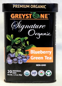 Premium Organic Signature Tin  Blueberry Green Tea - Kosher  - No Added Scents or Flavors