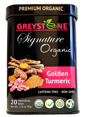 Premium Organic Ginger Turmeric Tea Tin - Kosher - Caffeine-Free - No Added Scents or Flavors