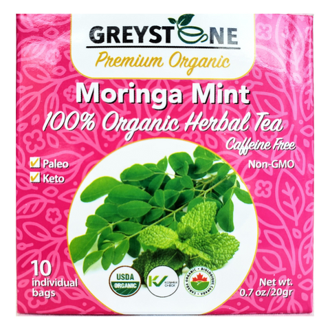 10X Superfood Moringa Mint  Organic Herbal Tea (Case of 12) - 120 Tea Bags