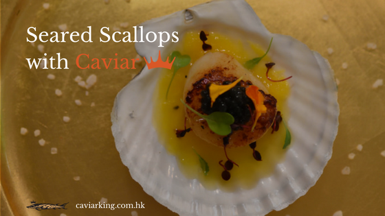 Seared Scallops with Caviar