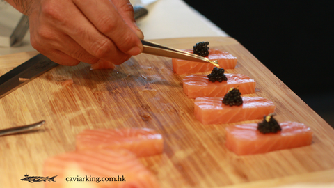 Put a little bit of gold leaf right on top of the caviar | Salmon Sashimi with Caviar | Recipe by Caviar King