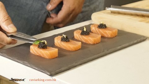 Cut the green algae into small pieces, and place them carefully on the caviar | Salmon Sashimi with Caviar | Recipe by Caviar King