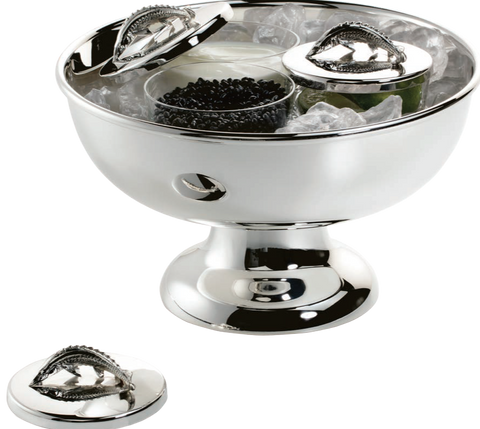 Large Footed Silver Caviar Bowl