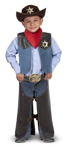 Melissa & Doug Cowboy Role Play Costume Set (5 pcs) - Includes Faux Leather Chaps