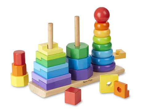 Melissa & Doug Geometric Stacker - Wooden Educational Toy